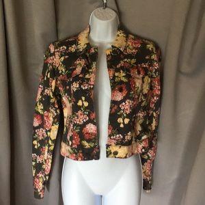 RUE21 black floral denim jacket